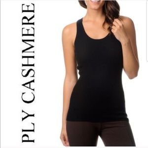 Ply Cashmere 100% Cashmere Black ribbed tank top